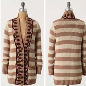 Anthro Sparrow Striped Button Cardigan Sweater SM